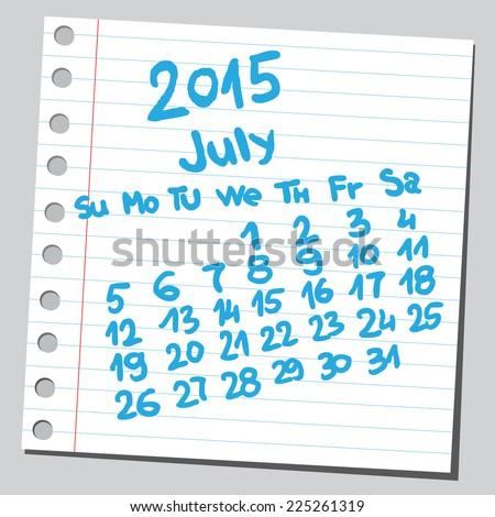 Calendar 2015 july (sketch style)  - stock vector