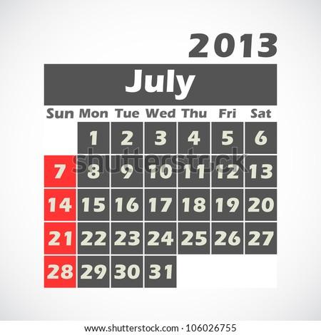 Calendar 2013.July.vector illustration. - stock vector