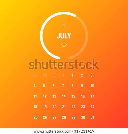 Calendar 2016. July. Week Starts Monday - stock vector