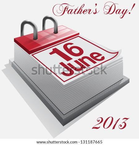 calendar 16 June, Father's Day . Vector - stock vector
