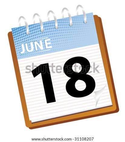 calendar june in blue tones vector - stock vector