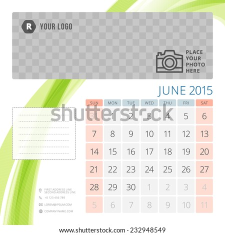 Calendar 2015 June template with place for photo. Week starts sunday - stock vector