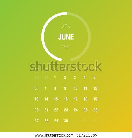 Calendar 2016. June. Week Starts Monday - stock vector