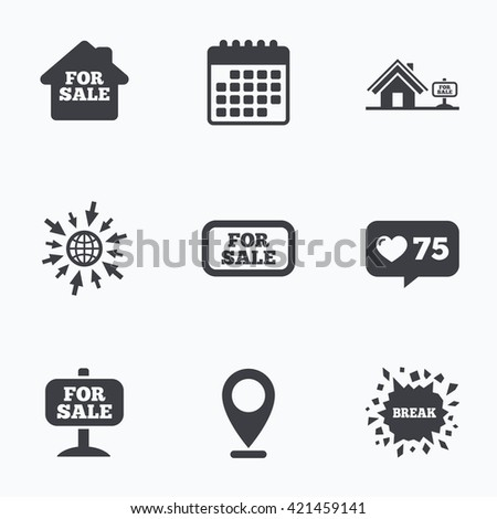 Calendar, like counter and go to web icons. For sale icons. Real estate selling signs. Home house symbol. Location pointer. - stock vector