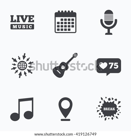 Calendar, like counter and go to web icons. Musical elements icons. Microphone and Live music symbols. Music note and acoustic guitar signs. Location pointer. - stock vector