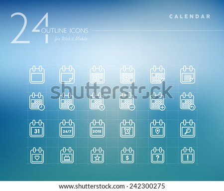 Calendar line icons set for web and mobile app. EPS10 vector file organized in layers for easy editing. - stock vector