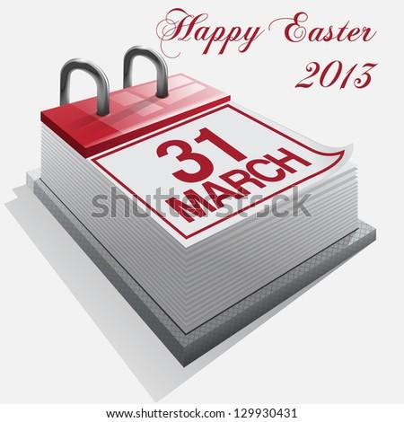 calendar.31 March. Happy Easter.Vector - stock vector