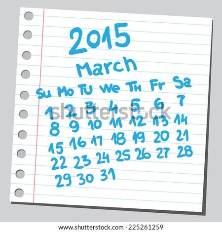 Calendar 2015 march (sketch style)  - stock vector