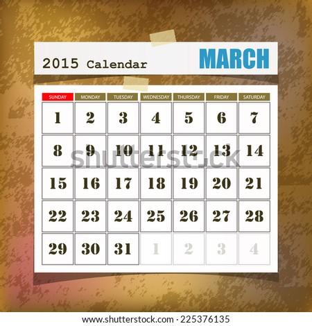 Calendar 2015 March vintage paper on grunge background  - stock vector