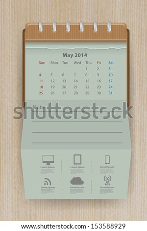 Calendar may 2014, Creative folded paper with business icon on wood texture background, workflow layout, diagram, step up options, web banner template, Vector illustration modern template design - stock vector