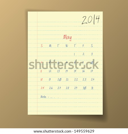 Calendar 2014 May in sketch style on notebook sheet. Vector illustration.