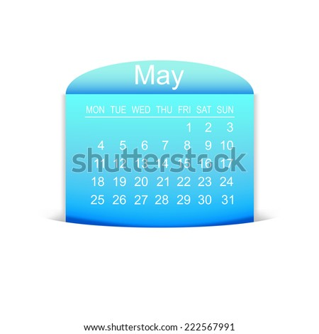 Calendar May 2015. Vector illustration  - stock vector