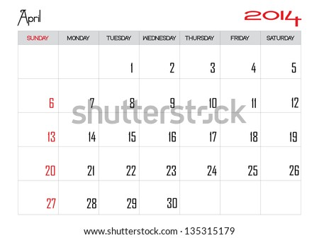 Calendar month of april 2014 in English - stock vector