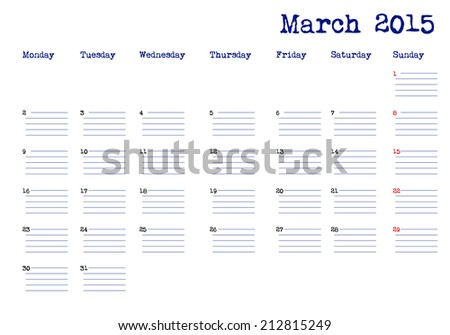 Calendar month of march 2015 - stock vector