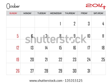Calendar month of october 2014 in English - stock vector