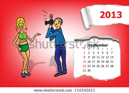 Calendar month of September. Young couple takes pictures - stock vector