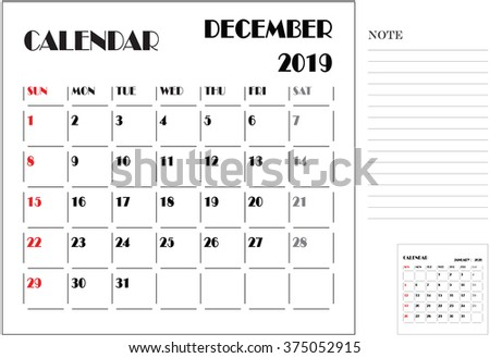 calendar monthly plan, paper design, week starts with Sunday, December 2019
