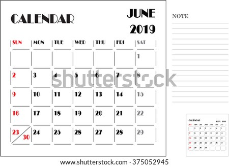 calendar monthly plan, paper design, week starts with Sunday, June 2019