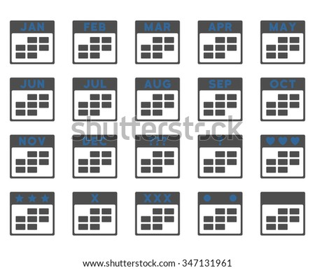 Calendar Months vector icon. Style is bicolor flat symbols, cobalt and gray colors, rounded angles, white background. - stock vector