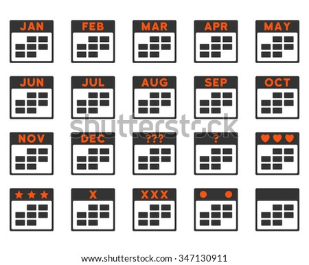 Calendar Months vector icon. Style is bicolor flat symbols, orange and gray colors, rounded angles, white background. - stock vector