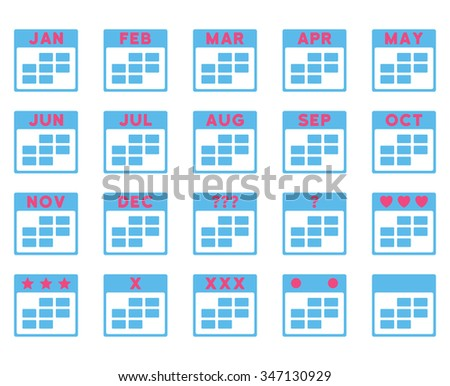 Calendar Months vector icon. Style is bicolor flat symbols, pink and blue colors, rounded angles, white background. - stock vector