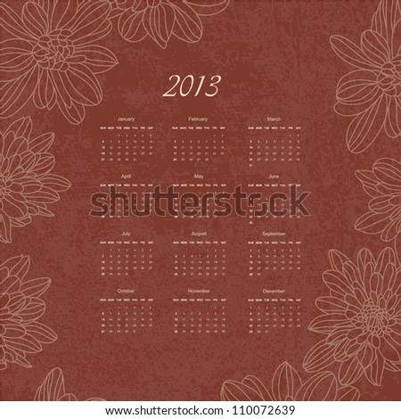 Calendar new 2013 year hand drawing floral retro background design for card, template, sketch, elements, border, art texture, grunge banner, frame, season daily, pattern, planning vector eps 10 - stock vector