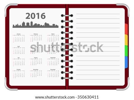 calendar 2016 notepad design - stock vector
