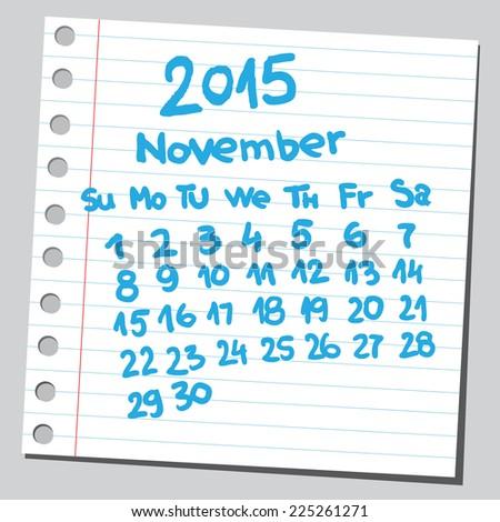 Calendar 2015 november (sketch style)  - stock vector
