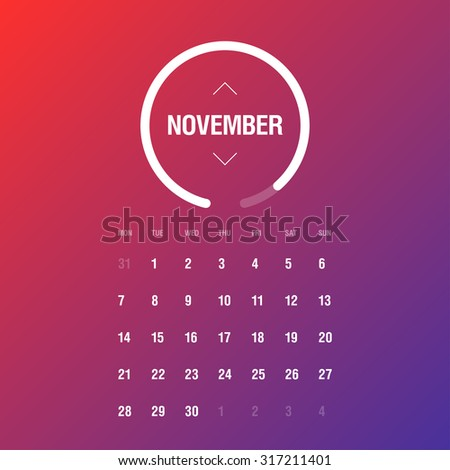 Calendar 2016. November. Week Starts Monday - stock vector