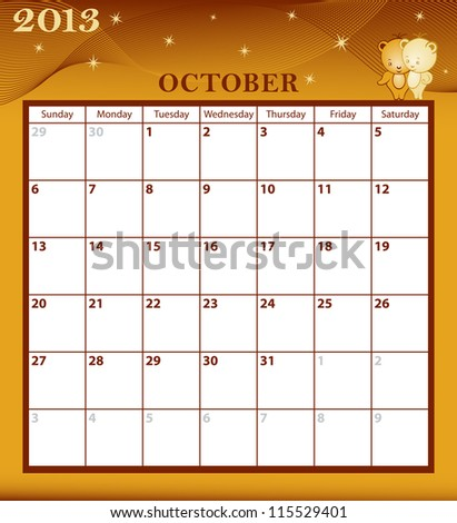 Calendar 2013 October month with large date boxes. Cartoon characters and patterned background. January to December months available. Raster version also available. - stock vector