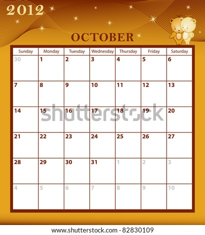 Calendar 2012 October month with large date boxes. Cartoon characters and patterned background. Raster also available. - stock vector