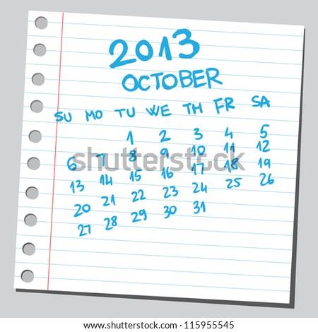 Calendar 2013 october (sketch style) - stock vector