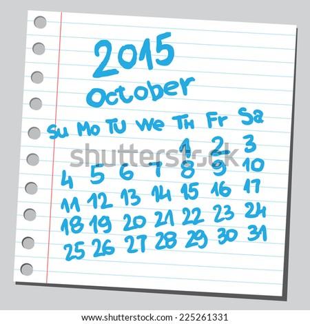 Calendar 2015 october (sketch style)  - stock vector