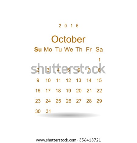 Calendar October 2016 vector design. Week starts from Sunday. icon