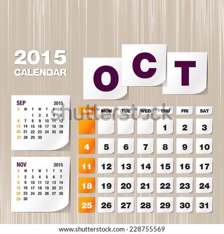 Calendar 2015 October vintage paper on grunge background  - stock vector