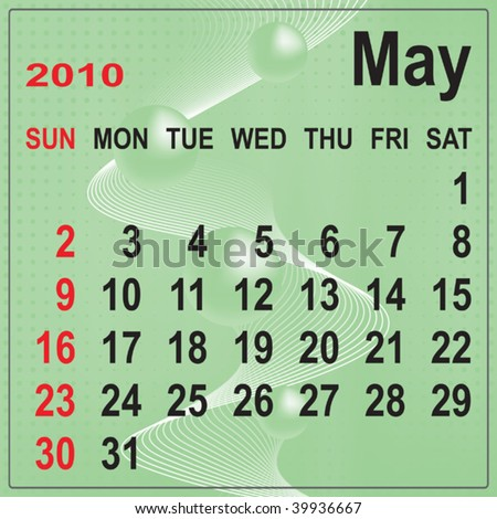 Calendar of May 2010 on abstract background. Week begins with Sunday. Vector illustration. Gradient mesh include.