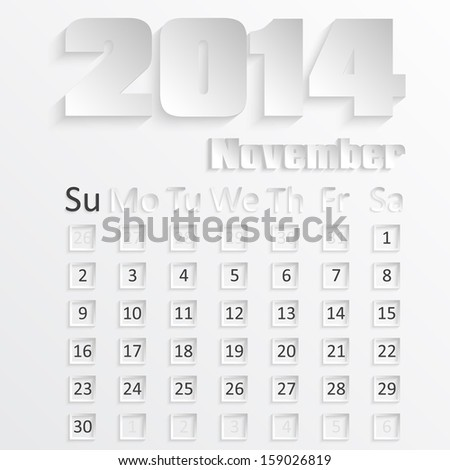 Calendar of November 2014 with the 3D image, vector - stock vector
