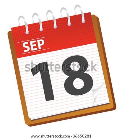 calendar of september in red tones - stock vector