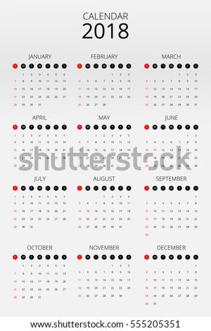 calendar 2018 on grey background