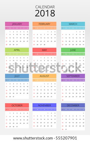 calendar 2018 on grey background
