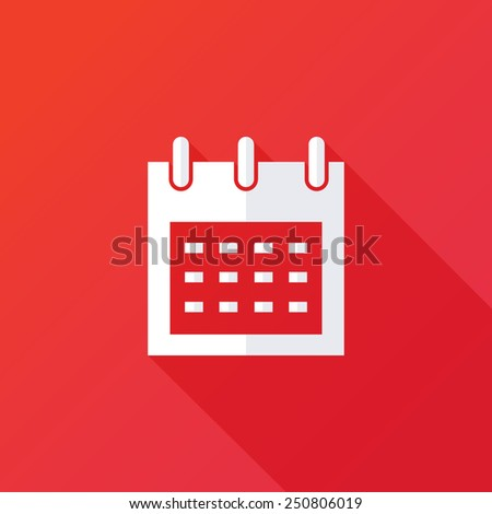 Calendar organizer icon. Vector illustration flat design with long shadow - stock vector