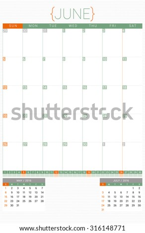 Calendar Planner 2016 Design Template. June. Week Starts Sunday