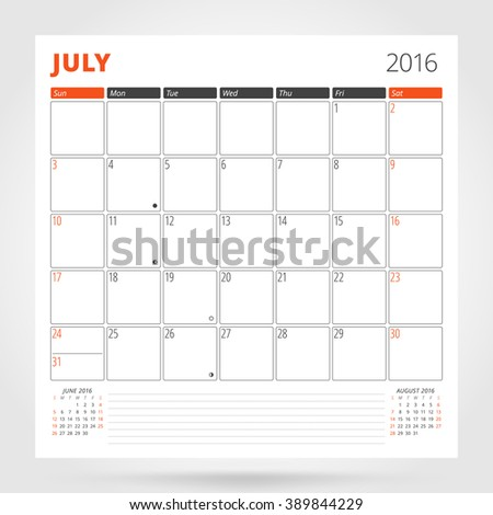 Calendar Planner for 2016 Year. July. Design Print Template with Place for Photos and Notes. Week Starts Sunday. Stationery Design - stock vector