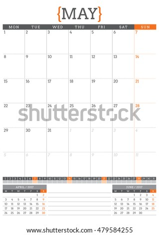 Calendar Planner for 2017 Year. Stationery Design Template. May. Week Starts Monday. Vector Illustration