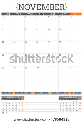Calendar Planner for 2017 Year. Stationery Design Template. October. Week Starts Monday. Vector Illustration