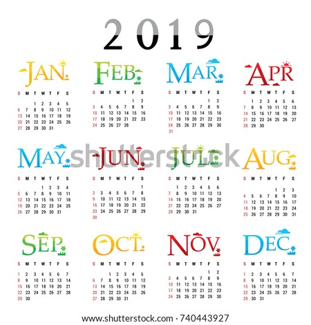 Calendar Planner Happy New Year 2019 Stock Vector