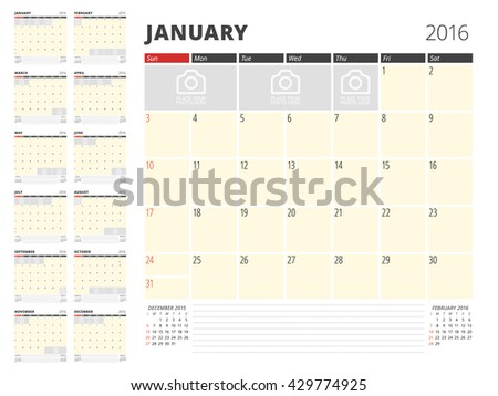 Calendar Planner Template for 2016 Year. Vector Design Print Template. Week Starts Sunday. Calendar Grid with Place for Photos and Notes. Set of 12 Months