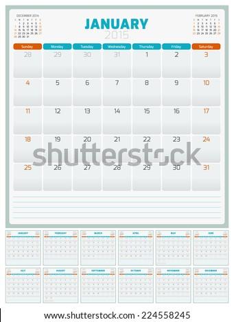 Calendar planner 2015 template week starts sunday - stock vector