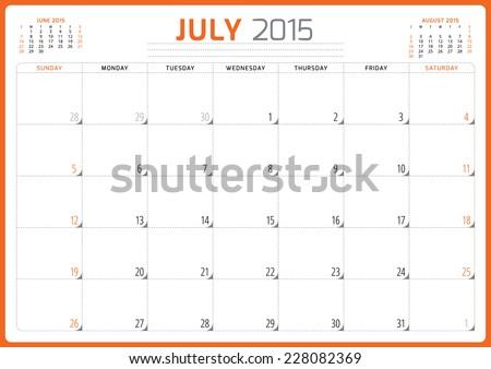 Calendar planner 2015 template week starts sunday vector illustration July month - stock vector