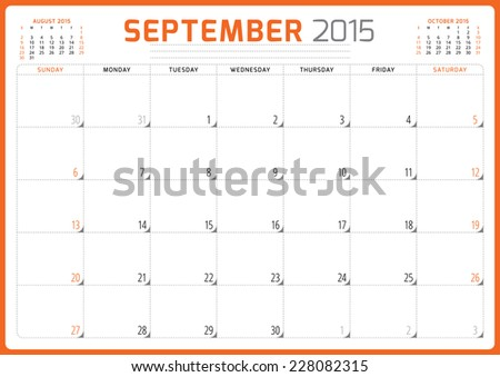 Calendar planner 2015 template week starts sunday vector illustration September month - stock vector
